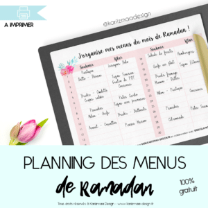 planning des menus du Ramadan
