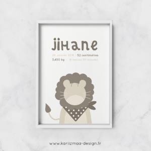 Poster de naissance islam Bébé Lion Beige