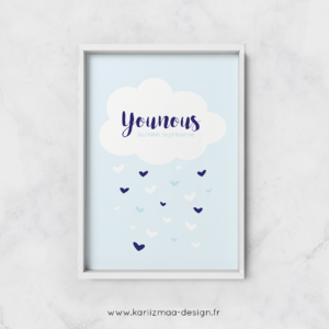 Poster Nuage et Pluie de Coeurs Bleu Ciel