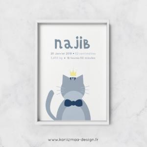Poster de naissance islam Bébé Chat Gris