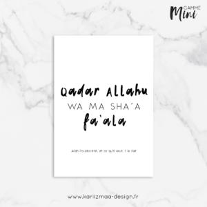 Carte Qadaru Allah wa ma sha'a fa'ala Gamme Mini