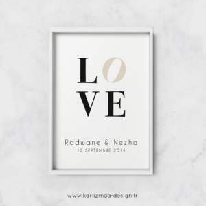 Poster Mariage Love Beige