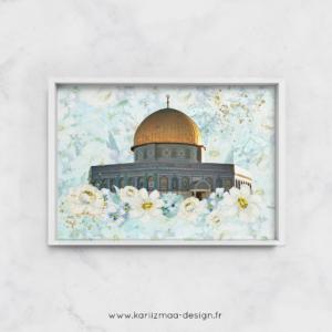 Poster Islam Dôme du Rocher Fleuri