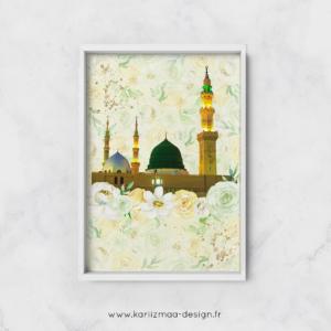 Poster Islam Masjid Nabawi Fleuri